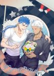 2boys alternate_costume archer blue_hair blush bouquet casual chest couple cu_chulainn_(fate)_(all) dark_skin dark_skinned_male earrings emya fate/grand_order fate/stay_night fate_(series) flower grey_eyes hand_on_another's_shoulder jewelry lancer male_focus multiple_boys muscle pectorals ponytail red_eyes short_hair white_hair