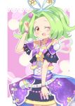 1girl :d ;d bare_shoulders border bow clenched_hand commentary cowboy_shot detached_sleeves dress dress_flower flower forehead fur_trim green_hair hair_bow hair_flower hair_intakes hair_ornament hairband idol kiratto_pri_chan looking_at_viewer multicolored multicolored_eyes one_eye_closed open_mouth pink_background pretty_(series) rabbily_(kiratto_pri_chan) red_eyes short_hair smile solo star-shaped_pupils star_(symbol) star_in_eye symbol-shaped_pupils symbol_in_eye toon_(noin) white_border wristband yellow_eyes
