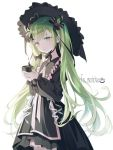 1girl ahoge black_bow black_dress bow braid collar cup double_bun dress frills green_eyes green_hair green_tea hair_bow hat highres holding holding_cup long_hair looking_at_viewer nabi_(uz02) original parted_lips simple_background solo striped striped_bow tea teacup very_long_hair white_background