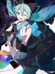 1girl aqua_eyes aqua_hair aqua_neckwear bare_shoulders black_bow black_dress blurry_foreground bow cable cube dress foreshortening framed_breasts from_above gloves hair_bow hair_ornament hatsune_miku headphones hhhhhoi holding holding_microphone hoop_skirt lens_flare long_hair looking_at_viewer magical_mirai_(vocaloid) makuhari-chan microphone necktie one_eye_closed open_mouth short_necktie sleeveless sleeveless_dress smile twintails very_long_hair vocaloid white_gloves