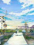 1girl absurdres arms_behind_back black_eyes black_hair clouds farm grass greenhouse highres hill horizon huge_filesize light_smile loafers long_hair looking_at_viewer looking_back original outdoors pleated_skirt railroad_crossing road road_sign rural sakura_inu_(itoyatomo) scenery school_briefcase school_uniform serafuku shadow shoes sign signature skirt sky solo sunset tree water