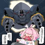 >o< 1girl ahoge bangs blue_hair chibi closed_eyes clothes_writing collar crossover crying eyebrows_visible_through_hair fang gundam haro heart idolmaster idolmaster_cinderella_girls mecha mobile_suit_gundam motion_blur multicolored_hair open_mouth outstretched_arms pink_hair seat shiny shiny_hair short_hair short_sleeves space speed_lines takato_kurosuke upper_body v-shaped_eyebrows wide_sleeves yumemi_riamu zeong