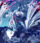 aisutabetao blue_sky claws clouds dragon dragon_tail dragon_wings energy highres monster_hunter monster_hunter_xx mountain no_humans sky tail valstrax wings