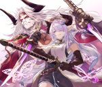 1boy 1girl belt blue_bow blue_eyes bow braid brown_belt brown_gloves bug butterfly character_request dagger dual_wielding elbow_gloves eyebrows_visible_through_hair fingerless_gloves gloves granblue_fantasy hair_bow hair_ornament hair_over_one_eye headband highres holding holding_dagger holding_sheath holding_weapon horns insect japanese_clothes katana long_hair makeup narmaya_(granblue_fantasy) nos parted_lips petals pink_butterfly pink_hair pointy_ears red_headband scabbard sheath smile sword twintails unsheathing violet_eyes weapon white_hair