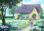 1girl ankle_socks black_footwear blue_dress blue_sky brown_hair clouds commentary_request day dress fence floating_hair flower garden hanagara_(k_tento) hand_on_own_head holding holding_watering_can house ivy looking_at_viewer original outdoors picket_fence planter rose shawl sky solo tree tulip watering_can white_legwear white_shawl wide_shot wind wind_lift wooden_fence