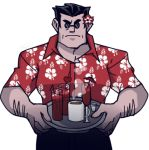 1boy arm_hair black_hair carrying cocktail_glass coffee_mug collared_shirt cup drink drinking_glass drinking_straw flower hair_flower hair_ornament hair_slicked_back hawaiian_shirt helltaker helltaker_(character) kiyovero light_frown lowres male_focus mug red_shirt serious shirt sunglasses tray tropical_drink