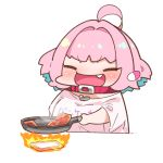 1girl ahoge bacon bangs blue_hair blush breasts chibi closed_eyes clothes_writing collar cooking earrings eyebrows_visible_through_hair fang fire food frying_pan happy heart holding idolmaster idolmaster_cinderella_girls jewelry multicolored_hair open_mouth outstretched_arm pill_earrings pink_hair shiny shiny_hair shirt short_hair short_sleeves simple_background smile solo symbol_commentary takato_kurosuke translated two-tone_hair upper_body v-shaped_eyebrows white_background wide_sleeves yumemi_riamu