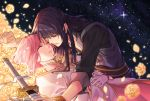 belt black_hair bracelet closed_eyes dress estellise_sidos_heurassein flower gloves highres jewelry leaning_over long_hair open_mouth pink_hair scabbard sheath short_hair starry_background tales_of_(series) tales_of_vesperia tsubsa_syaoin violet_eyes weapon yuri_lowell