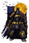 1boy armor bat batman batman_(series) batman_ninja belt dc_comics fingerless_gloves flying gloves highres japanese_armor japanese_clothes katana logo looking_at_viewer mask moon naratani pouch realistic signature superhero sword weapon