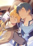 2boys bag bass_clef black_collar blonde_hair blue_hair blue_scarf cardigan closed_eyes coat collar commentary kagamine_len kaito leaning_on_person leaning_to_the_side male_focus multiple_boys necktie parted_lips sailor_collar scarf shirt sidelighting sinaooo sleeping spiky_hair symbol_commentary upper_body vehicle_interior vocaloid white_coat white_shirt yellow_neckwear