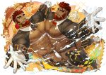 2boys abs alternate_costume bara beard bow bowtie briefs bulge chest chest_harness dancing dark_skin dark_skinned_male facial_hair flower flower_in_mouth gloves gomtang hephaestus_(tokyo_houkago_summoners) looking_at_viewer male_focus male_underwear manly mouth_hold multiple_boys muscle nipples official_art pectoral_docking pectoral_press pectorals red_eyes revealing_clothes scar shirtless short_hair shrug_(clothing) talos_(tokyo_houkago_summoners) thick_eyebrows thick_thighs thighs tokyo_houkago_summoners underwear water yaoi