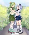 2girls blue_eyes blue_hair character_request green_eyes green_hair green_skirt hair_ribbon hand_on_another's_arm hand_on_another's_waist highres kneehighs looking_at_another multiple_girls okazakileo plaid plaid_skirt railing ribbon roller_skates school_uniform sigsbee_(warship_girls_r) skates skirt uniform warship_girls_r yuri