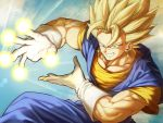 1boy blonde_hair blue_sky dragon_ball dragon_ball_z earrings energy fighting_stance gloves green_eyes grin highres incoming_attack jewelry looking_at_viewer male_focus mattari_illust muscle open_hands potara_earrings sky smile solo spiky_hair super_saiyan super_saiyan_1 vegetto white_gloves