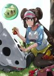 1girl aqua_eyes bag berry_(pokemon) black_legwear blush bottle breasts brown_hair closed_mouth collarbone double_bun eyebrows_visible_through_hair floating gen_3_pokemon gen_5_pokemon grass hand_on_another's_head hat highres kneeling lairon large_breasts legwear_under_shorts logo long_hair long_sleeves looking_at_another mei_(pokemon) multicolored multicolored_clothes noeru outdoors pantyhose pecha_berry poke_ball poke_ball_(basic) pokemon pokemon_(creature) pokemon_(game) pokemon_bw2 shorts smile solosis spray_bottle tepig tree visor visor_cap yellow_shorts