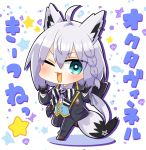 1girl ahoge animal_ears bangs black_gloves black_jacket black_pants blush bow bowtie braid chibi collared_shirt commentary_request earrings eyebrows_visible_through_hair fox_ears fox_girl fox_shadow_puppet fox_tail gloves green_eyes green_vest hair_between_eyes hair_bow hololive jacket jewelry leg_up long_hair looking_at_viewer namu76 one_eye_closed open_mouth pants pentagram shirakami_fubuki shirt sidelocks simple_background single_braid solo tail translation_request v-shaped_eyebrows vest virtual_youtuber white_background white_hair white_shirt