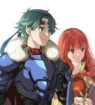 1boy 1girl alm_(fire_emblem) armor cape celica_(fire_emblem) closed_mouth fire_emblem fire_emblem_echoes:_shadows_of_valentia fire_emblem_heroes fur_trim green_eyes green_hair highres holding long_hair misu_kasumi red_eyes redhead short_hair simple_background upper_body white_background