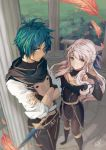 1boy 1girl adapted_costume belt black_gloves black_legwear boots bracelet crossed_arms dakiarts dress elbow_gloves feathers fingerless_gloves fire_emblem fire_emblem:_radiant_dawn fire_emblem:_three_houses from_above garreg_mach_monastery_uniform gloves green_hair hair_ribbon highres indoors jewelry long_hair long_sleeves micaiah_(fire_emblem) orange_eyes pantyhose perspective ribbon scarf sheath side_slit signature silver_hair sleeveless sleeveless_dress smile sothe_(fire_emblem) sword weapon yellow_eyes yellow_scarf