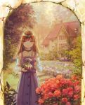 1girl arch bangs belt brown_eyes brown_hair cropped_legs day dress english_commentary expressionless flower garden hanagara_(k_tento) holding holding_teapot house lips long_hair long_sleeves looking_at_viewer original outdoors pinafore_dress purple_dress red_flower red_rose rose shirt solo stairs standing stone_stairs teapot white_shirt