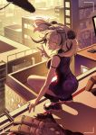 1girl animal_ears arknights boom_microphone building camera_lens china_dress chinese_clothes city dress eyewear_on_head feater_(arknights) grey_hair grin highres multicolored_hair on_roof one_eye_closed panda_ears shoes smile sneakers squatting streaked_hair sunglasses tomo_tomodo twilight twintails v