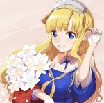 1girl bangs bare_shoulders blonde_hair blue_eyes blue_shirt bouquet breasts double_bun eyebrows_visible_through_hair fletcher_(kantai_collection) flower gloves hairband holding holding_bouquet kantai_collection large_breasts long_hair neckerchief petals pink_background shirt simple_background solo upper_body white_flower white_gloves yellow_neckwear yoshino_ns