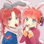 1boy 1girl :d ahoge animal_ears aqua_eyes arm_wrap bangs blue_eyes braid braided_ponytail brother_and_sister bun_cover bunny_boy bunny_girl bunny_tail chibi double_bun eating food food_on_face fruit gintama heart kagura_(gintama) kamui_(gintama) long_hair long_sleeves lowres mouth_hold nuka open_mouth rabbit_ears redhead scarf siblings sidelocks simple_background single_braid smile strawberry tail tassel upper_body