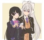 2girls black_hair black_jacket blazer blue_eyes bow bowtie braid breasts brown_vest cellphone closed_mouth collared_shirt commentary crossed_arms expressionless eyebrows_visible_through_hair french_braid hair_between_eyes hair_bow hair_ornament hairclip highres higuchi_kaede holding holding_phone jacket long_hair long_sleeves looking_at_another medium_breasts multiple_girls necktie nijisanji open_mouth phone pink_neckwear ponytail purple_neckwear school_uniform shirt silver_hair simple_background smartphone straight_hair talunilu_uu3 tsukino_mito uniform upper_body vest violet_eyes virtual_youtuber white_shirt wing_collar yellow_background
