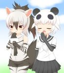 2girls :o aardwolf_(kemono_friends) animal_ears bangs bare_shoulders black_gloves black_hair black_legwear black_sailor_collar black_shorts black_skirt blush breasts closed_eyes collared_shirt commentary_request day drooling elbow_gloves eyebrows_visible_through_hair giant_panda_(kemono_friends) gloves gradient_hair hair_between_eyes hands_up highres holding kemono_friends legwear_under_shorts multicolored_hair multiple_girls neckerchief open_mouth outdoors panda_ears pantyhose parted_lips pleated_skirt ponytail sailor_collar saliva school_uniform serafuku shin01571 shirt short_hair short_shorts short_sleeves shorts skirt sleeveless sleeveless_shirt small_breasts striped striped_gloves tail tears white_gloves white_hair white_legwear white_neckwear white_shirt wolf_ears wolf_girl wolf_tail