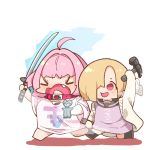 >o< 2girls ahoge arm_up bangs barefoot black_legwear blonde_hair blue_background blue_hair blush breasts brown_footwear chibi closed_eyes closed_mouth collar eyebrows_visible_through_hair fang full_body hair_over_one_eye hammer hands_up heart holding holding_hammer holding_sword holding_weapon idolmaster idolmaster_cinderella_girls katana long_sleeves multicolored_hair multiple_girls no_pants open_mouth oversized_clothes oversized_shirt pink_hair red_eyes sailor_collar shiny shiny_hair shirasaka_koume shirt short_eyebrows short_hair short_sleeves simple_background sleeves_past_fingers sleeves_past_wrists smile socks sword takato_kurosuke two-tone_hair v-shaped_eyebrows weapon white_background wide_sleeves yumemi_riamu