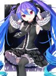 1girl armpits bare_shoulders black_legwear black_neckwear black_shirt black_skirt black_sleeves blue_hair commentary cowboy_shot detached_sleeves drill_hair frilled_legwear frilled_skirt frilled_sleeves frills gothic_lolita gradient_hair gunjou_row hair_ribbon hands_on_own_head hands_up hatsune_miku hatsune_miku_no_gekishou_(vocaloid) headset highres infinity_(module) layered_skirt lolita_fashion long_hair multicolored_hair necktie parted_lips purple_hair red_eyes ribbon shirt skirt sleeveless sleeveless_shirt solo spring_onion_print thigh-highs twin_drills twintails very_long_hair vocaloid zettai_ryouiki