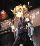1girl ahoge arknights blonde_hair blue_eyes ceiling_light chalkboard coffee_cup cup disposable_cup drinking_glass iced_coffee leizi_(arknights) name_tag off_shoulder omuretu_(butterroru) pointy_ears shirt skirt sleeveless sleeveless_shirt