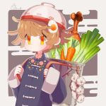 1girl artist_name bowl bowl_hat brown_hair carrot chinese_clothes egasumi egg_hair_ornament food_themed_hair_ornament garlic hair_ornament hat highres orange_eyes original outline pot short_hair solo sorata123 spring_onion tangzhuang two-tone_background upper_body white_outline