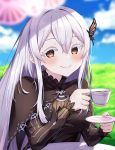 1girl bangs black_capelet black_dress blue_sky blurry blurry_background blurry_foreground blush breasts brown_eyes butterfly_hair_ornament capelet closed_mouth clouds commentary_request cup day depth_of_field dress echidna_(re:zero) hair_between_eyes hair_ornament hands_up highres holding holding_cup horizon large_breasts long_hair long_sleeves looking_at_viewer outdoors profnote re:zero_kara_hajimeru_isekai_seikatsu silver_hair sky smile solo striped table teacup upper_body very_long_hair