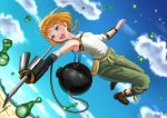 1girl :o absurdres artist_name belt_pouch blue_eyes blue_sky braid brown_footwear brown_hair day decadence_(anime) droplet full_body green_pants highres kayama_kouji midair natsume_(decadence) needle outdoors pants pouch prosthesis prosthetic_arm shirt sky solo white_shirt