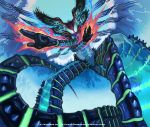 aura closed_mouth creature duel_masters english_text glowing glowing_hand green_eyes hand_gesture head_wings insect_wings no_humans official_art saitou_naoki tail transparent wings