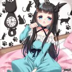 1girl bangs bare_shoulders bed black_choker black_hair blue_dress blue_eyes blush character_request choker clock collarbone criss-cross_halter curled_horns dairoku_youhei dress eyebrows_visible_through_hair fang frilled_dress frills hair_ornament hairclip halterneck hand_up horns long_hair long_sleeves looking_at_viewer mirai_(happy-floral) multiple_horns off-shoulder_dress off_shoulder official_art on_bed open_mouth pillow puffy_long_sleeves puffy_sleeves roman_numerals sitting solo very_long_hair wall_clock watermark yawning