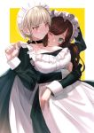 2girls ;q apron arm_up bangs black_choker blush breasts brown_hair choker collarbone commentary_request dress frilled_apron frills frown green_dress green_eyes hand_up highres hug hug_from_behind jewelry large_breasts long_sleeves looking_at_another looking_at_viewer maid maid_apron maid_dress maid_headdress mole mole_on_breast multiple_girls one_eye_closed original red_eyes ring tongue tongue_out two-tone_background white_background yellow_background yoiyoi_uruu yuri