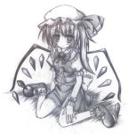 :t futase_hijiri graphite_(medium) monochrome side_ponytail sitting touhou traditional_media wariza wings