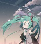 clouds hatsune_miku nagareboshi sky star star_(sky) starry_sky twintails vocaloid