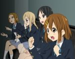 4girls akiyama_mio black_hair blonde_hair brown_hair gaijin_4koma hair_ornament hirasawa_yui k-on! kotobuki_tsumugi long_hair multiple_girls open_mouth parody school_uniform short_hair tainaka_ritsu watanore