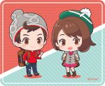 1boy 1girl backpack bag bangs beanie blush bob_cut boots brown_eyes brown_hair cardigan chibi closed_mouth commentary_request dress full_body green_headwear green_legwear grey_cardigan hat holding holding_poke_ball holding_strap long_sleeves masaru_(pokemon) ooura open_mouth pigeon-toed pink_dress poke_ball poke_ball_(basic) pokemon pokemon_(game) pokemon_swsh red_shirt shirt short_hair sleeves_rolled_up smile socks tam_o'_shanter watermark yuuri_(pokemon)