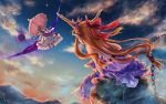 2girls bare_arms blonde_hair chain clouds commentary_request cuffs dress facing_away floating floating_hair from_behind from_below gap_(touhou) gradient_sky hair_ribbon hair_up hat hat_ribbon high_heels highres holding holding_sign horn_ornament horn_ribbon horns ibuki_suika layered_dress long_hair long_sleeves looking_at_another looking_down looking_up low-tied_long_hair mob_cap mountain multiple_girls orange_hair outdoors pantyhose parted_lips partial_commentary pink_umbrella pointy_ears purple_skirt red_footwear ribbon road_sign rock shackles shirt sidelocks sign sitting sitting_on_rock skirt sky sleeveless sleeveless_shirt star_(sky) tabard touhou tress_ribbon trigram twilight umbrella very_long_hair violet_eyes white_dress white_headwear white_legwear wide_sleeves wind wind_lift wrist_cuffs yakumo_yukari yin_yang yukanomokume