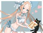 1girl abigail_williams_(fate/grand_order) abigail_williams_(swimsuit_foreigner)_(fate) bangs bare_shoulders bikini black_cat blonde_hair blue_eyes blush bonnet bow breasts cat fate/grand_order fate_(series) food forehead fran_(yuliwei2012) hair_bow highres long_hair looking_at_viewer miniskirt navel open_mouth pancake parted_bangs sidelocks skirt small_breasts smile swimsuit twintails very_long_hair white_bikini white_bow white_headwear