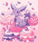 black_bow black_ribbon blush bow candy closed_mouth commentary_request creature espeon food forked_tail gen_2_pokemon highres jippe looking_at_viewer macaron no_humans one_eye_closed pokemon pokemon_(creature) ribbon smile tail