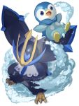 blue_eyes commentary_request empoleon gen_4_pokemon highres looking_at_viewer no_humans open_mouth outstretched_arms piplup pokemon pokemon_(creature) starter_pokemon tongue water yu_(mekeneko1998)