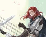 1boy armor bishounen black_cloak black_gloves bow_(weapon) cloak failnaught_(fate) fate/grand_order fate_(series) gloves harp holding holding_weapon instrument knight long_hair long_sleeves male_focus open_eyes out_of_frame redhead simple_background solo_focus sword tristan_(fate/grand_order) upper_body weapon white_background yellow_eyes yepnean