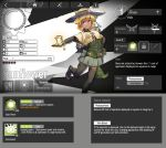 1girl absurdres arknights battery belt blonde_hair bracelet capelet dark_skin elbow_gloves english_text fake_screenshot gloves glowing green_shirt hat highres jewelry leaf monster_girl personification petals plant_girl plants_vs_zombies pompmaker1 pouch reaching_out shirt skirt smile solar_panel solo sun_hat thigh-highs toeless_legwear yellow_eyes zettai_ryouiki