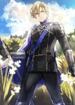 1boy absurdres armor artist_name bangs black_pants blonde_hair blue_cape blue_eyes blue_sky blurry cape closed_mouth clouds cloudy_sky commentary cowboy_shot day depth_of_field dimitri_alexandre_blaiddyd fire_emblem fire_emblem:_three_houses flower garreg_mach_monastery_uniform gloves grass highres holding holding_weapon kanniepan long_sleeves looking_at_viewer male_focus nature outdoors pants serious sheath sheathed short_hair shoulder_armor shoulder_plates sky solo standing sword tree weapon white_flower