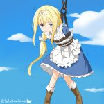 1girl alice_schuberg apron arms_behind_back bangs blonde_hair blue_dress blue_eyes blush boots bound braid brown_footwear chain commentary_request day dress eyebrows_visible_through_hair felutiahime frilled_apron frills full_body hairband highres long_hair looking_at_viewer maid_apron open_mouth restrained sky solo sword_art_online twitter_username very_long_hair white_apron white_hairband