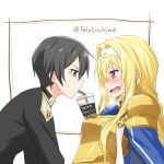 1boy 1girl alice_schuberg armor artist_name bangs bendy_straw black_eyes black_hair blonde_hair blue_eyes blush breasts bubble_tea bubble_tea_challenge commentary_request cup disposable_cup drink drinking_straw epaulettes felutiahime from_side gold_armor hairband highres kirito long_hair looking_at_another md5_mismatch open_mouth short_hair shoulder_armor sweatdrop sword_art_online sword_art_online:_alicization translated upper_body white_background white_hairband