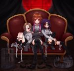 3girls :| absurdres ahoge alternate_hair_color birdcage black_legwear black_shorts boots brown_hair cage center_frills chain closed_mouth couch cravat cross-laced_footwear crossed_arms curtains earrings eyepatch feathers foothold_trap framed_breasts frills full_moon garter_straps grey_footwear grey_jacket hair_over_one_eye hand_up hayasaka_mirei high_heel_boots high_heels highres idolmaster idolmaster_cinderella_girls indoors interlocked_fingers jacket jewelry knees_together_feet_apart lace-up_boots long_hair long_sleeves looking_at_viewer medium_hair minazukio9 moon multicolored_hair multiple_girls ninomiya_asuka orange_eyes orange_hair pink_eyes pink_hair purple_hair red_moon redhead shirasaka_koume shirt short_hair shorts sitting sleeves_past_fingers sleeves_past_wrists sock_garters tareme thigh-highs thigh_boots tsurime two-tone_hair white_neckwear white_shirt window zettai_ryouiki